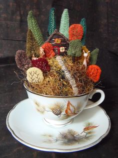 Faeries and Fibres: Another teacup pincushion.  Just darling!