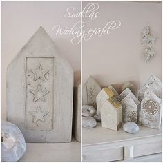 Smillas Wohngefühl: DIY: Betonhäuser mit und ohne Schnickschnack / Smilla's sense of living: DIY: concrete houses with and without frills Cement Art, Concrete Crafts, Concrete Art, Concrete Projects, Natal Diy, Arts And Crafts House, Concrete Houses, Little Houses, Diy Projects To Try