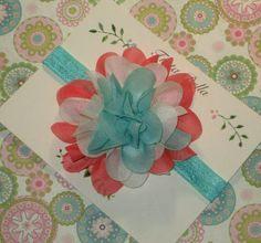 Coral Aqua and White Flower Headband, Aqua Headband, Coral Chiffon Flower, Baby Headband, Aqua Baby Hair Bow, Toddler Headband on Etsy, $8.00