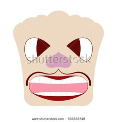 Caricature faces. Angry face. White background.
