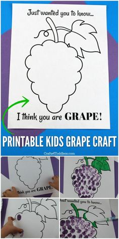 "Looking for an easy craft to do with the kids? Use this cute ""I think you are GRAPE!"" free printable and check out the fun kids craft ideas you can make with it. The craft ideas only require a few craft supplies. Super simple and fun! Easy Arts And Crafts, Fun Crafts For Kids, Arts And Crafts Supplies, Easy Diy Crafts, Crafts To Do, Preschool Crafts, Diy For Kids, Activities For Kids, Purple Crafts"