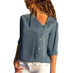 db52a96c46c 2018 Women Tops and Blouses Solid Long Sleeve Button Skew Collar Irregular Blouse  Ladies Top Blouse