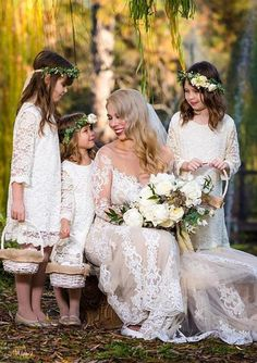 Blossom Dress in White Lace Girls White Dress, White Flower Girl Dresses, Lace Flower Girls, Ivory Dresses, White Girls, Girls Dresses, Woodland Wedding, Rustic Wedding, Mother Daughter Relationships