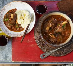 Lamb shanks are good value, and as each on is a portion, serving is a cinch. You can braise the shanks up to two days ahead. From BBC Good Food Lamb Shanks Slow Cooker, Braised Lamb Shanks, Slow Cooker Recipes, Crockpot Recipes, Cooking Recipes, Meal Recipes, Slow Cooking, Family Recipes, Family Meals