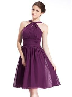 A-Line/Princess Halter Knee-Length Chiffon Bridesmaid Dress With Ruffle (007026277) - JJsHouse - burgundy