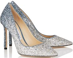 3788973458 Jimmy Choo ROMY 100 pumps - sparkly wedding shoes - silver and dusk blue  fireball glitter degrade fabric pointy toe pumps - something blue