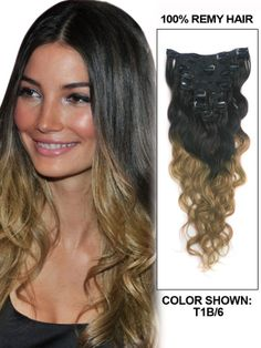 """20"""" 9 Piece Body Wave Ombre Clip In Indian Remy Human Hair Extension-T1B/6"""