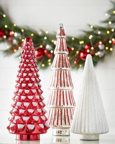 Red White Silver Mercury Gl Tabletop Trees At Horchow