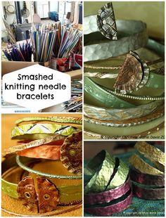 Smashed metal knitting needle bracelets I LOVE THIS hammered look! : Smashed metal knitting needle bracelets I LOVE THIS hammered look! Recycled Jewelry, Metal Jewelry, Beaded Jewelry, Handmade Jewelry, Metal Bracelets, Cuff Bracelets, Diy Upcycled Art, Upcycled Furniture, Furniture Ideas
