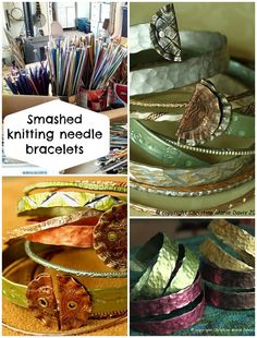 Seems like a shame to harm a knitting needle. but these smashed metal knitting needle bracelets are cute. I LOVE THIS hammered look!