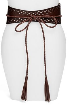 Free shipping and returns on Steven by Steve Madden Obi Belt at Nordstrom.com. A wide wrap belt crafted from cutout leather is embellished with tassels, creating a standout look.