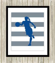 Girls wall art, basketball art, sports art, girl's room art, basketball player, soccer girl, worm poster, custom colors by PicabooArtStudio, $10.99