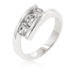 Genuine Rhodium Plated Ring with 3 Round Cut Clear Cubic Zirconia in a Prong Setting Polished into a Lustrous Silvertone Finish