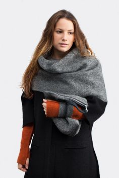 Andrea wearing the Teide snood, Paris coat, K2 mittens and everest clutch. www.weneedle.com #weneedle #diyfashion #madebyyou #100%wool #sewingschool #uniqueclothing #handmadeaccessories #handmadeclothes