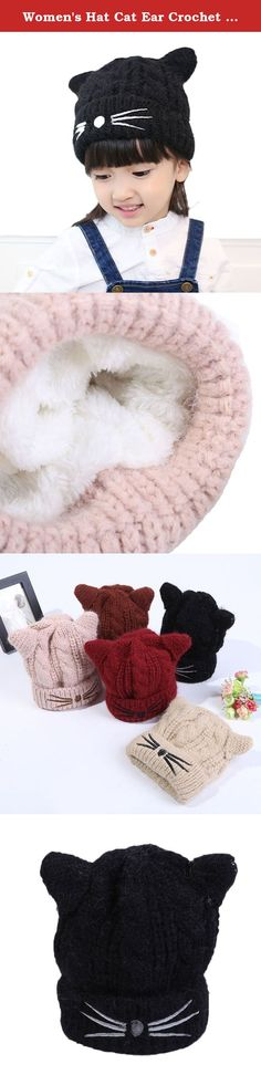 Women's Hat Cat Ear Crochet Braided Knit Caps Slouchy Beanie (black). Super cute and stylish gift for your kids. Head size: 49-53cm/19.29-20.86inch (elasticity). material:Made of high quality cotton, durable and comfortable. Perfect for Christening Baptism,photo shoots or any special occasions. Cute hat knit in shape of ears (horns).Knitted design, soft and warm for winter wearing.