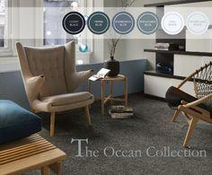 Blauwe kleuren werken verfrissend in een interieur met veel hout en natuurlijk materialen.