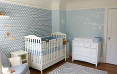 Adorable Blue Nursery Babyroomideas Hexagon Wallpaper Geometric Baby Boy Rooms