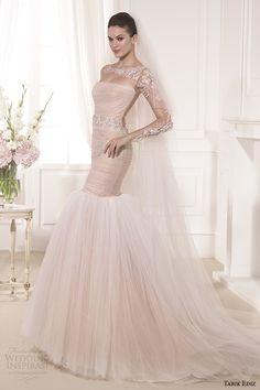 tarik ediz 2014 mangas largas nupcial ilusión colección sonrojan ajuste y llamarada vestido de novia 1 lilyum