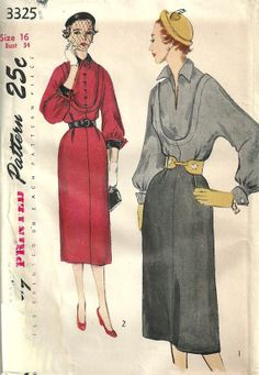 Simplicity 3325 Vintage 50s Sewing Pattern by studioGpatterns, $14.50