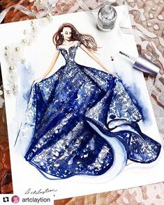 Navy Gown from tarikedizofficial. Drawings of Lavish Flowing Dress Designs Painted with watercolors and Nail polish. By Clayrene Chan. Fashion Drawing Dresses, Fashion Illustration Dresses, Dress Design Drawing, Dress Drawing, Fashion Design Drawings, Fashion Sketches, Fashion Art, Fashion Models, Navy Gown