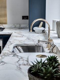 Penthouse Design - Barlow & Barlow, Marble Worktop, Gold Tap, Brass Tap, Stainless Steel, Sink, Blue Kitchen