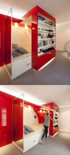 38 Smart Small Bedroom Designs with Hidden Bed. It looks cool, but thinking of the cost makes me nervous. 38 Smart Small Bedroom Designs with Hidden Bed. It looks cool, but thinking of the cost makes me nervous. Awesome Bedrooms, Cool Rooms, Cool Kids Bedrooms, Deco Design, Design Case, Design Design, Hidden Bed, Hidden Rooms, Hidden Spaces