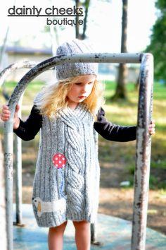 Grey Large Cable knit upcycled sweater dress- polka dot dog w/ balloon. $38.00, via Etsy.
