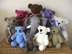 Baby bear  hand knitted jointed teddy bear made by by scunjeebabe, £5.00