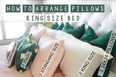 I have been wanting to do a post all about pillow arranging on beds. There are a bunch of different configurations you could do! But this one is my favorite for a king size bed. I also want to mention that buying full pillows can make all the difference t Euro Pillows, King Size Pillows, King Size Bedding, Bedding Sets, Decorative Bed Pillows, Home Bedroom, Bedroom Furniture, Bedroom Ideas, King Bedroom