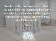 """""""I really love this company! I started off with the Take-Along Pals, then decided to get the whole bedding set and couldn't be happier. Not only is it eco-friendly, but everything is absolutely adorable! I ended up getting a bunch from Babee Talk gifts too, because I was so thrilled with this company. Definitely going to be looking for my products from this company. Thank you!"""" Thank you, Crissy! #babeetalk #fans #welove #thanks Everything, Bedding, Eco Friendly, Fans, Thankful, Happy, Gifts, Home Decor, Products"""