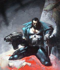1 Simon Bisley Punisher Cover !! Marvel Comic Art