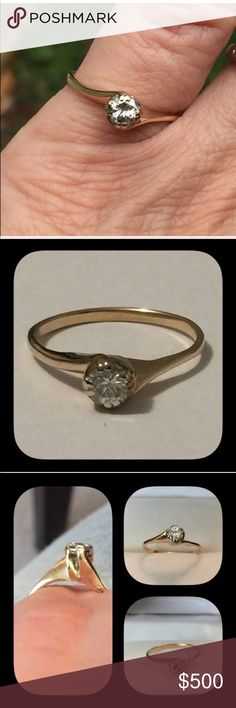 14k Gold Genuine Diamond Engagement Ring 💍14k Gold Vintage Art Deco Brilliant Cut Diamond Solitaire Engagement Ring 💍This ring is beautiful  💍The diamond measures approximately  💍💍4.2 mm and is  .30 ctw 💍S1-S2 💍Color I 💍Size 5.25 Vintage Jewelry Rings