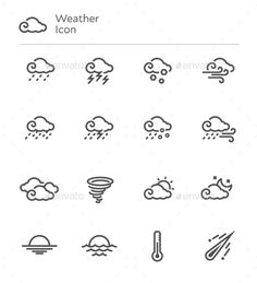 Weather Forecast Vector Line Icon Set by nanmulti This is a pack of 17 weather vector line icons set The pack includes EPS and JPG file Thank you so much for purchasing