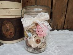 Shabby Chic Country Cottage Sewing Jar Fixins, 1940s Unmarked Hazel Atlas Jar, Vintage Lace Scraps, Old Thread Spools, Ribbon Snippets, Etc.