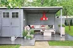 Garden Storage And Open Lean To -Transform ordinary and shabby lean-to sheds in the garden by adding an extra space you can hang out in. A metallic silver paint can give a polished and modern look to simple shed designs.