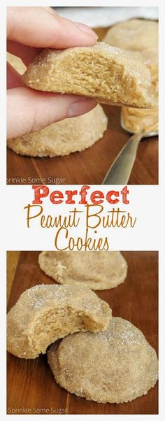Perfect peanut butte  Perfect peanut butter cookies. Incredibly thick and soft cookies loaded with peanut butter and rolled in sugar.