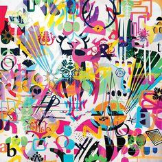 "Ryan McGinness-     SponsorshipRedux Painting 2, 2011, Acrylic on Canvas, 72 x 72""  Bridgette Mayer Gallery"