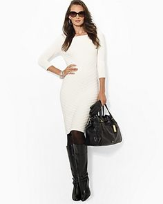 Lauren Ralph Lauren Three Quarter Sleeve Sweater Sheath Dress | Bloomingdale's