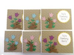 Bunny Easter Cards Easter Card Set by lilaccottagecards on Etsy