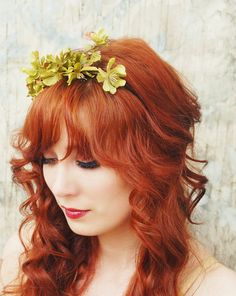Flower crown hair accessories green floral by gardensofwhimsy, $40.00