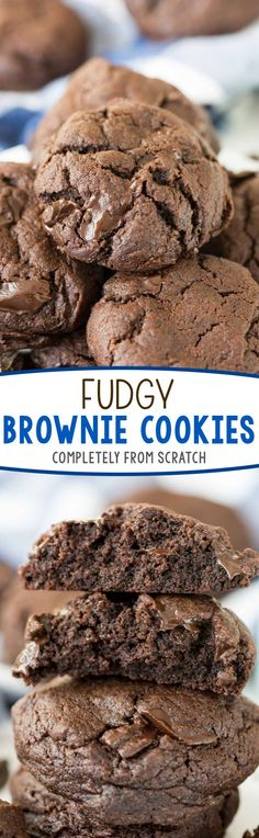 Fudgy Brownie Cookies - this easy fudgy cookie recipe is completely from scratch! It's like eating a hand held brownie - if you love chocolate THESE are the cookies for YOU! (Chocolate Cupcakes From Scratch) Easy Cookie Recipes, Cookie Desserts, Brownie Recipes, Just Desserts, Baking Recipes, Sweet Recipes, Delicious Desserts, Dessert Recipes, Yummy Food
