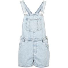 TOPSHOP MOTO Slim Fit Short Dungarees ($31) ❤ liked on Polyvore featuring jumpsuits, rompers, overalls, playsuits, jumpsuit, shorts, dresses, bleach stone, blue romper and jump suit