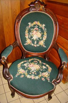 1880s Victorian Needle Point Black Walnut Parlor Arm Chair.