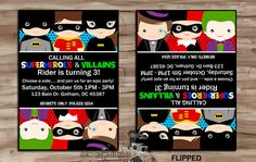 SUPERHEROES vs VILLAINS Birthday Invitation, Invite, Batman, Batgirl, Robin, Joker, Harley Quinn, Penguin, Digital Printable: 5 x 7 JPG File...
