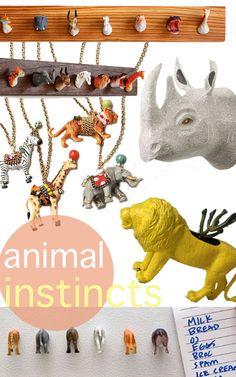 DIY plastic toys coat rack. http://www.apartmenttherapy.com/diy-an-amazing-animal-coat-rac-123971 #Organize #Closet