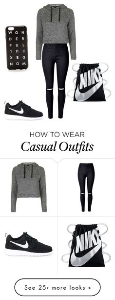 """Nike casual "" by sandilou on Polyvore featuring WithChic, Topshop, NIKE and J.Crew"