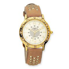 Swarovski Crystal Bezel Silver Dial 9in Leather Band Watch