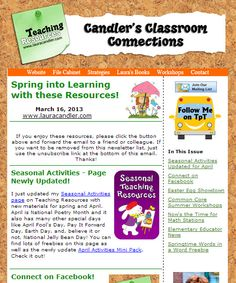 March 16, 2013 issue of Candler's Classroom Connections newsletter