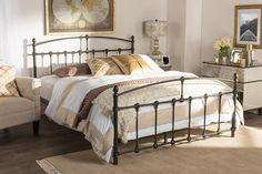 Baxton Studio Alissa Chic Antique Dark Bronze Queen Size Iron Metal Platform Bed
