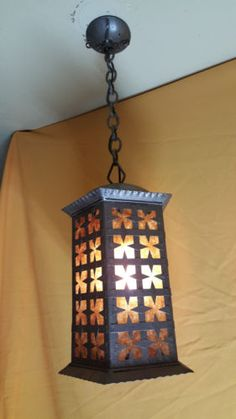 vintage wrought iron outdoor light fixture by peter marsh colored